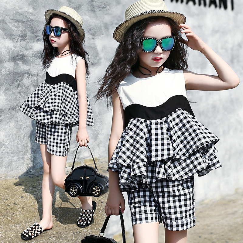 Big Girls Clothing Sets Summer 2018 Blouses Shirts + Shorts Girls Sets Clothes For Girls 4 6 8 10 12 13 14 Years Children Outfit 2018 new big girls clothing sets summer t shirts tops shorts suits 2 pieces kids clothes baby clothing sets 6 8 10 12 14 year