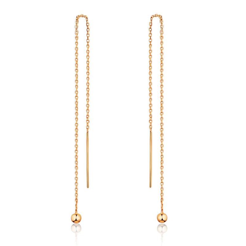 Solid AU750 Rose Gold Earrings Women Long Link Smooth Beads Dangle Earrings yoursfs dangle earrings with long chain austria crystal jewelry gift 18k rose gold plated