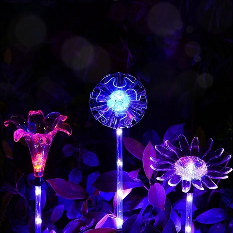 Outdoor Solar Garden Lights Dandelion Lily Sunflower Shaped Luminous Stake Lights for Garden Path Landscape Decoration DC1.2V ...
