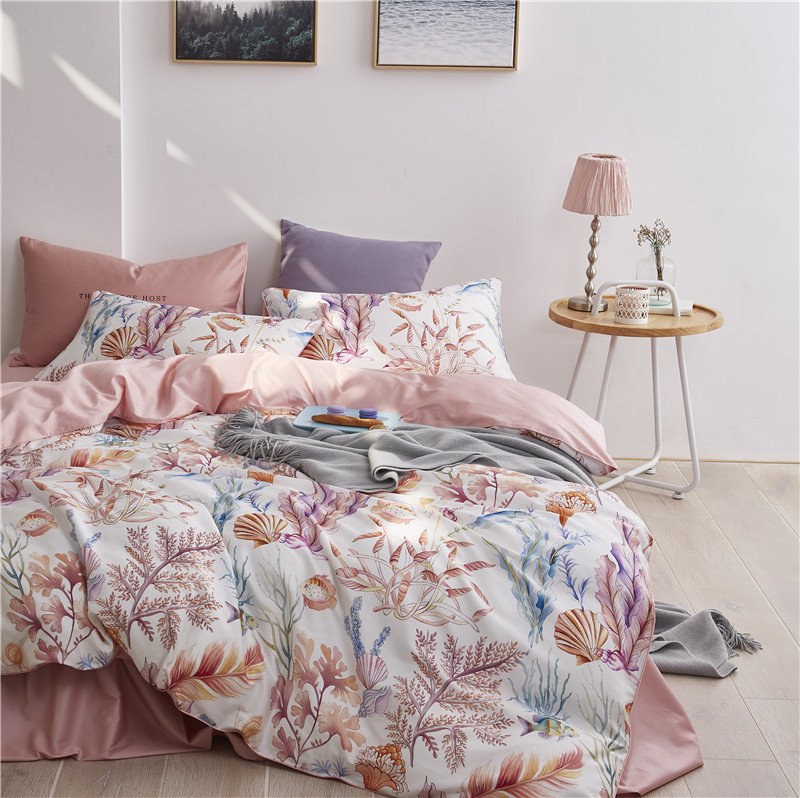 Multic color Leaf Birds print Bedding Set Luxury Egyptian Cotton Soft Queen King size Bedding sets