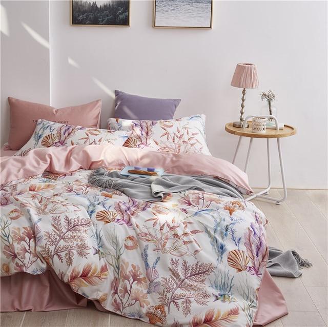 Multic color Leaf Birds print Bedding Set Luxury Egyptian Cotton Soft Queen King size Bedding sets Bed Sheet Duvet Cover set