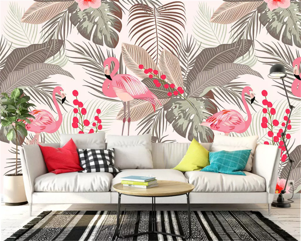 beibehang Custom wallpaper Nordic minimalist small fresh flamingo tropical leaves TV background papel de parede papier peint in Wallpapers from Home Improvement