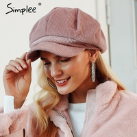Simplee de pana boina mujer gorra plana sombreros para las mujeres de moda  estilo casual boina d13e146f91b