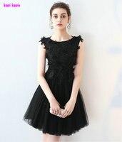 In Stock Black Evening Praty Dress Short 2017 Sexy Scoop Zipper Design Tulle Appliques Formal Prom