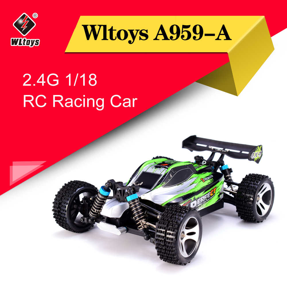 Wltoys A959-A 2.4G 1/18 Schaal 4WD RC Speedcar 35 km/h Afstandsbediening Racing Hoge Snelheid Schokbestendig Off-Road auto Groen