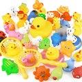 15 шт./пакет игрушки ванны Животные игрушки для плавания мини красочные мягкие плавающая резиновая утка Squeeze звук смешной подарок для маленьких детей - фото