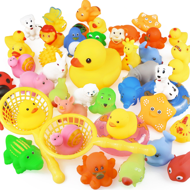 15PCS/Bag Bath Toy Animals Swimming Water Toys Mini Colorful Soft Floating Rubber Duck Squeeze Sound Funny Gift For Baby Kids
