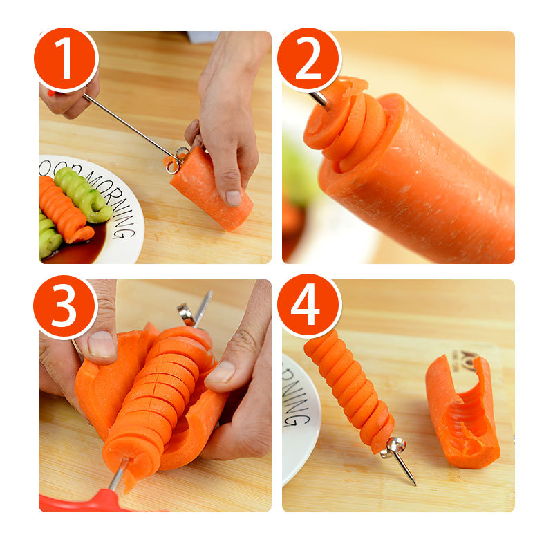 Manual Rolling Spiral Slicer Vegetable Twist Knife Screwer Potato Spiral Slicer Of Portable Kitchen Tool