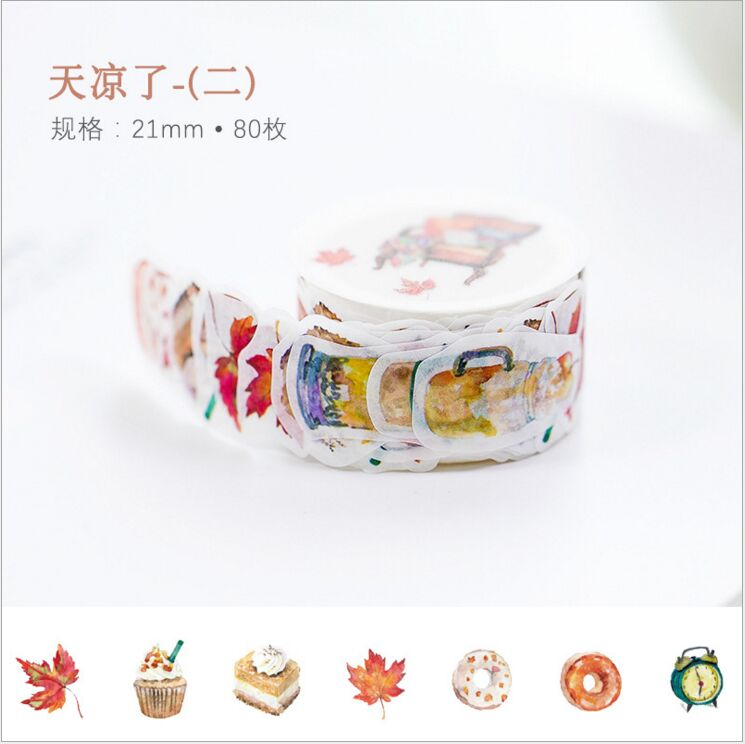 80pcspack Cold Days Autumn Leaves Warm Clothes Food Decorative Washi Tape DIY Planner Diary Scrapbooking Masking Tape Escolar