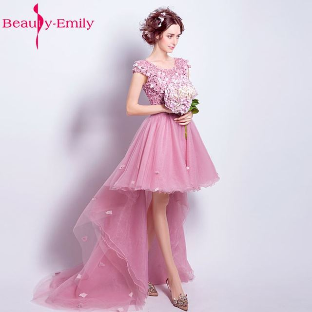 Beauty Emily Rose Pink Three dimensional Flower Formal Short Long ...
