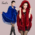 5 Colours Fall Winter New Soft Wool Cashmere Fox Fur Poncho Shawl Women Pashmina Outerwear Faux Fur Tassel Hooded Cape Coat