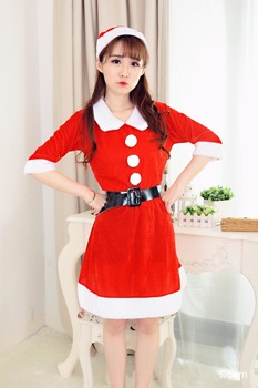 2017 New Year Costumes for Girl Christmas Costumes Cosplay Dress+Cap w/Belt  Women Christmas Dress Sweet Miss Santa Costume 2