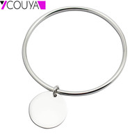 New Bangles Design Stainless Steel Silver Bangle Bracelets Round Charm Bracelets Bangles Women Costume Jewellery High