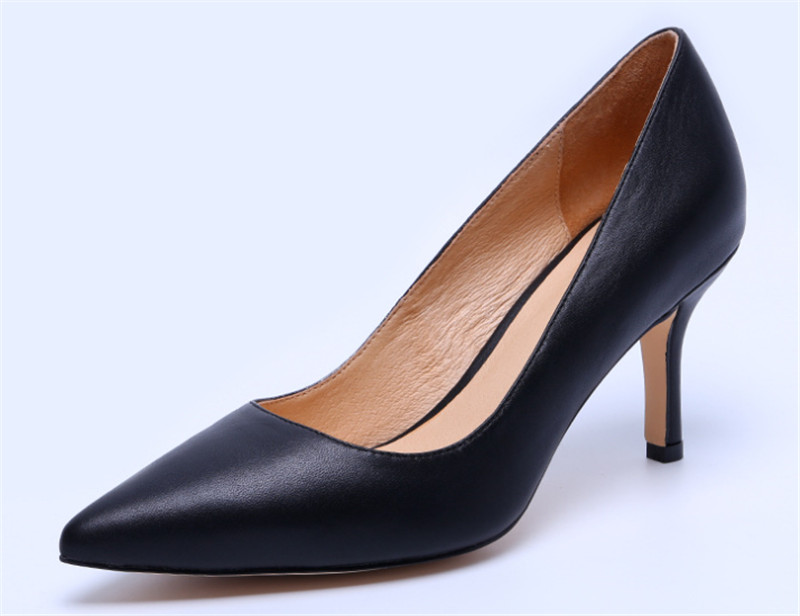 ФОТО  High Heels Pumps Sexy Thin Heel Round Toe Genuine leather Shoes Summer 2017 Zapatos  Women's  office lady Pumps Diji Grils Need