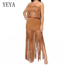 YEYA Strapless Two Piece Set Tassel Maxi Dress Womens Summer Off Shoulder Sleeveless Hollow Out Party Beach Dresses Vestidos