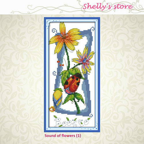 Sound of flowers (1) Painting Counted or Stamped Cross Stitch 11CT, 14CT DMC Cross Stitch Kits Embroidery Home Decor Needlework