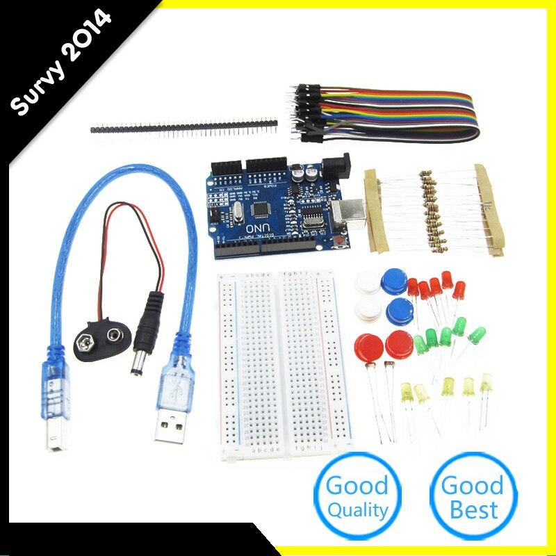 Starter Kit UNO R3 mini Breadboard pulsante ponticello LED per Arduino compatile