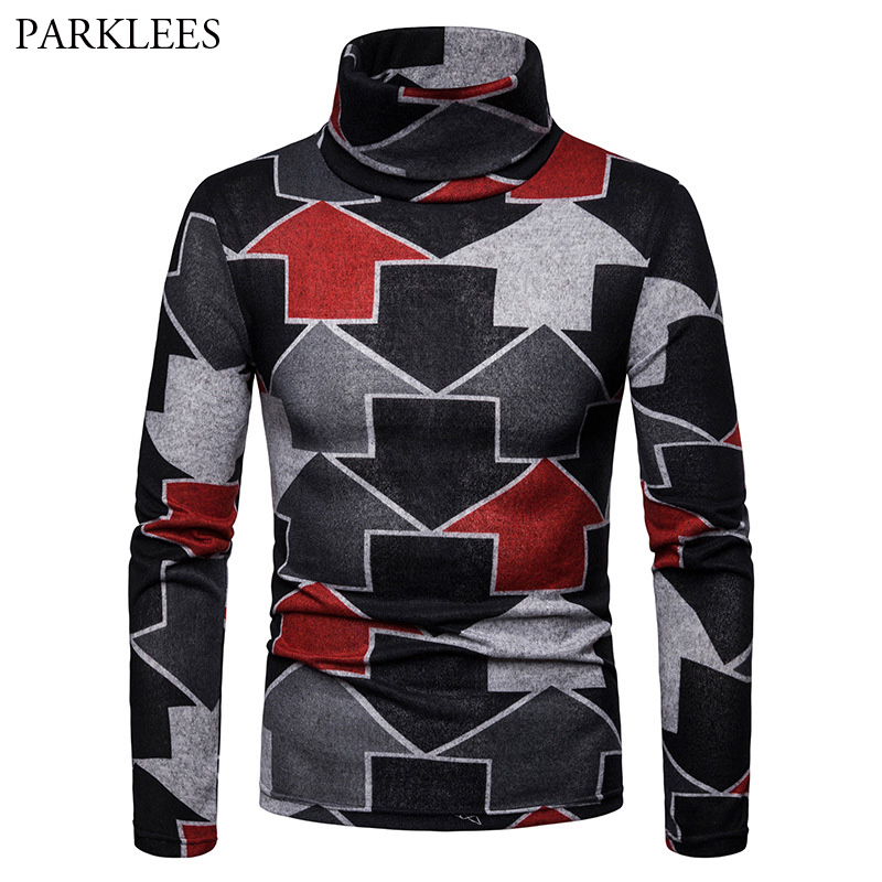 Mens Casual Warm Turtleneck Pullover Sweaters 2018 Fashion Arrow Print Slim Fit Knitted Pullovers Men High Collar Sueter Hombre