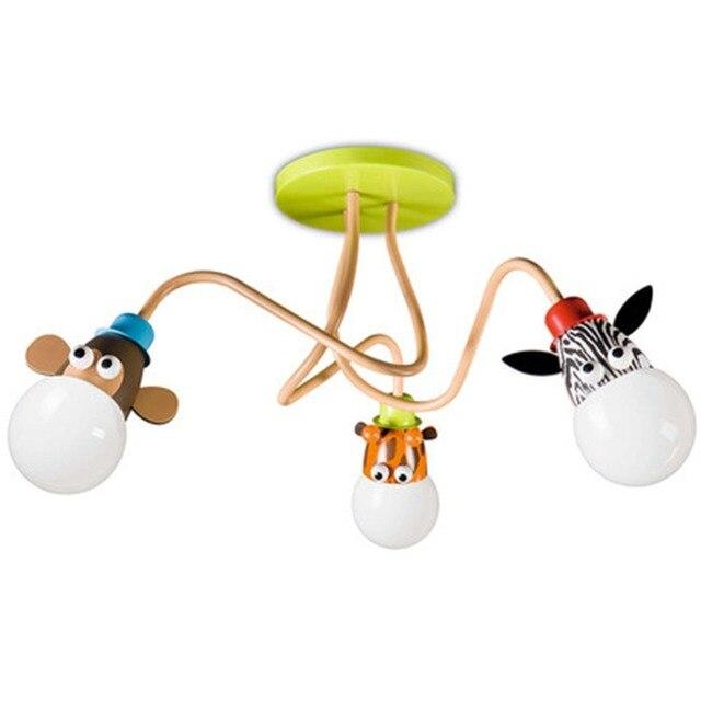 Modern Cartoon Animal Acrylic Zoo Ceiling Light Fixture for Kindergarten Boy Girl Princess Children's Bedroom Living Room