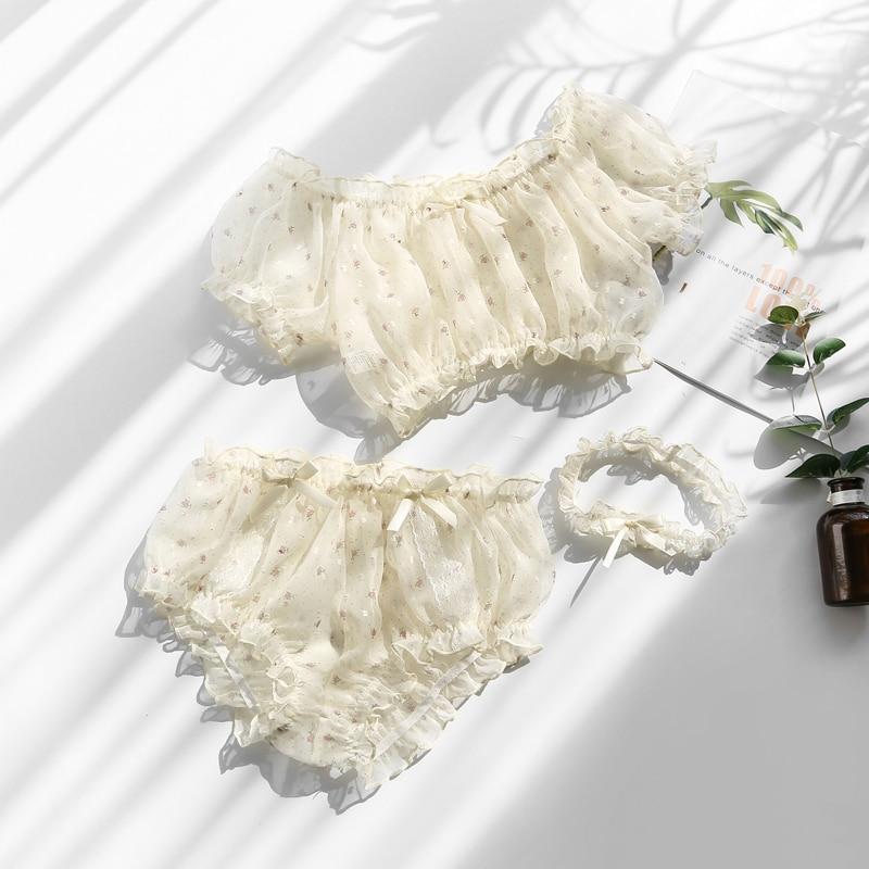 Pastoral Girly Style Sexy Lingerie Underwear Tranparent Floral Cute Chiffon Beautiful Tube Top Bra Panty Leg Ring 3pcs Set