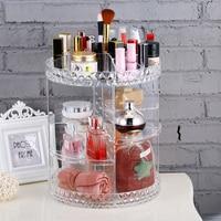 Mordoa Fashion Brands Transparent Acrylic 360 degree Rotating Makeup Organizer Case Detachable Cosmetics Jewelry Storage Box