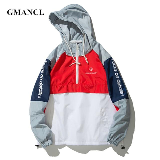 b4ad88d37 GMANCL 2018 Men Patchwork Hooded Jackets Letter printed Half zipper Loose  Mens Streetwear Tracksuit Pullover Windbreaker Coats