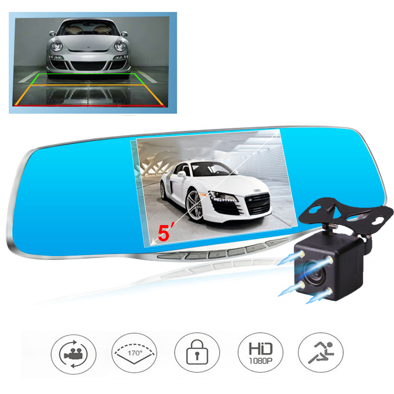 dual lens car camera rearview mirror auto dvrs cars dvr recorder video registrator camcorder full hd1080p