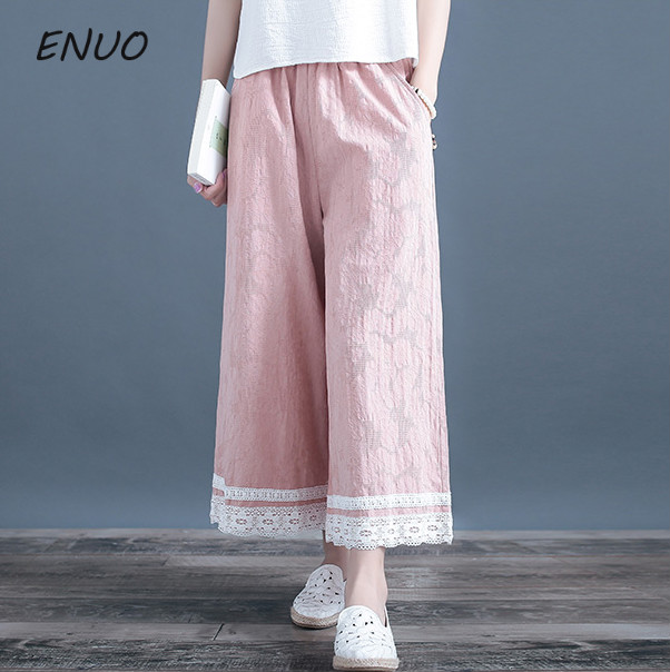 Linen Pants Trousers Lace Traditional Pink Vintage Chinese Cotton Women Summer Wide And
