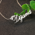 Solid Silver Classic Female Necklace Personalized Name Pendant Jewelry Wholesale Solitaire Nameplate Rollo Chain Necklace