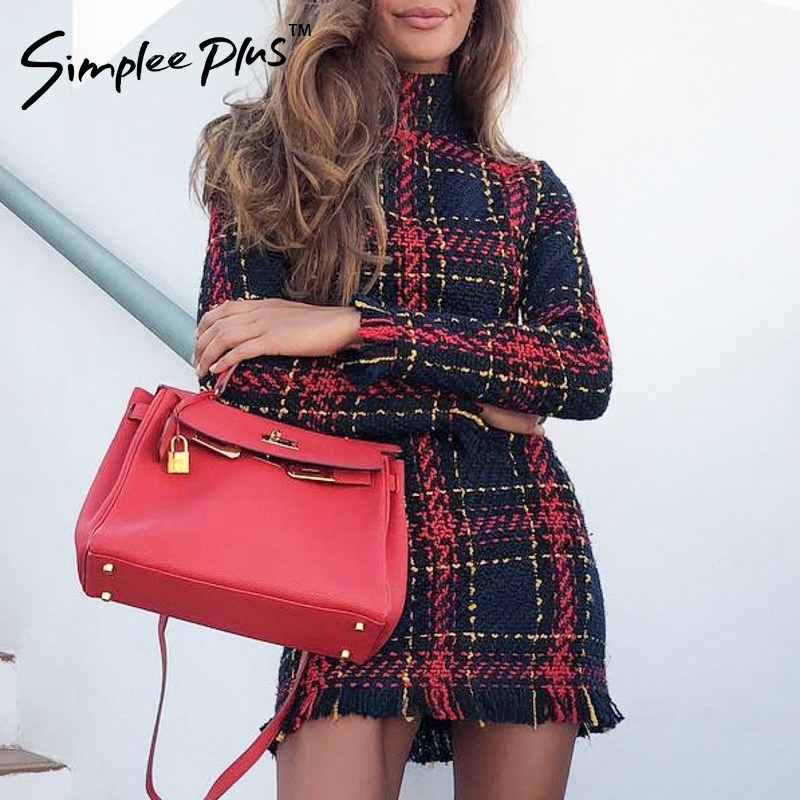 Simplee Plus Elegant Office lady plaid winter dress Long sleeve stand collar thick warm tassel dress Fashion slim female vestido