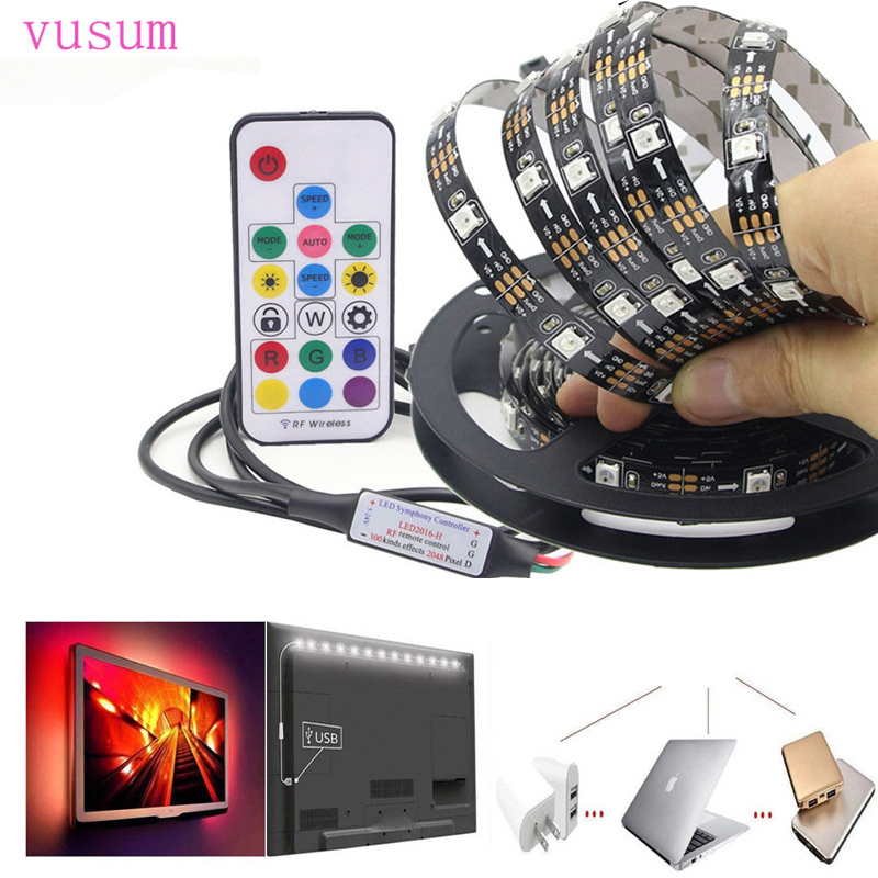 5V  USB RGB WS2812  17 key LED Strip Light 30led/m 5050 SMD 1M to 5M Strip for TV Background Lighting With Remote  Control new 5pcs 2pin 3pin 4pin led connector l t x shape fpc adapter free welding for 8mm 10mm 3528 2812 5050 rgb light strip