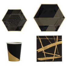 Stylish Black & Gold Disposable Party Tableware Set