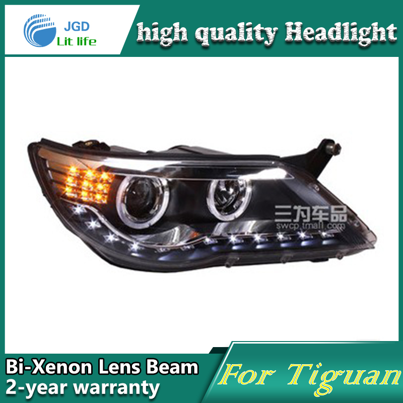 high quality Car Styling for VW Tiguan 2010-2012 Headlights LED Headlight DRL Lens Double Beam HID Xenon Car Accessories hot sale abs chromed front behind fog lamp cover 2pcs set car accessories for volkswagen vw tiguan 2010 2011 2012 2013