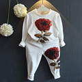 Artishare Girls Clothing Sets Long Sleeve Rose Embroidered Sequin Children Clothing set For Kids Clothes  Girls Sports Suits
