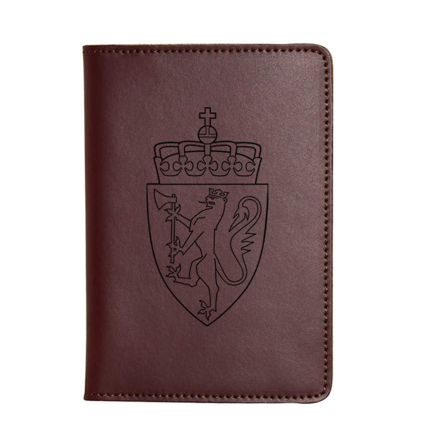 Engraved The national emblem of Norway Passport Cover Real Leather Passport Wallet Functional Card Holders Engraved Travel Cover