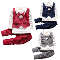2017 Baby Toddler Boys Clothes Formal Korean Clothing Sets Children Bow Tie Striped T Shirts Pants Children Kids Suit