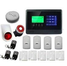 Inalámbrico Wired GSM SMS de Ladrón del Hogar de Seguridad del Sistema de Alarma Pantalla LCD y Sensor de Puerta Inalámbrico Impermeable Al Aire Libre Sirena Intermitente