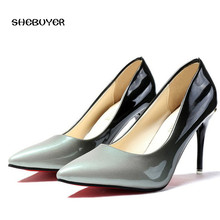 2018 Spring Women Ultra High Heels Shoes Elegant Thin Heels Pointed Toe  Gradient Color Ladies Patent Leather Pumps Heels 9cm e6c4943bf7c1