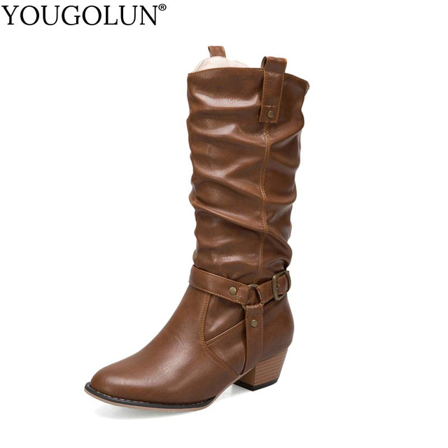 376d8017d28 YOUGOLUN Autumn Winter Womens Cowboy knee High Western Boots Ladies Mid  Heels Woman Black Brown Khaki PU Shoes Plus Size B162