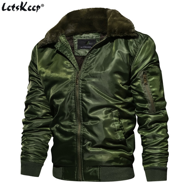 64910c1ad29 US Size LetsKeep Fleece bomber jacket men Winter military army jackets coat  mens fur collar jacket Outerwear Plus size