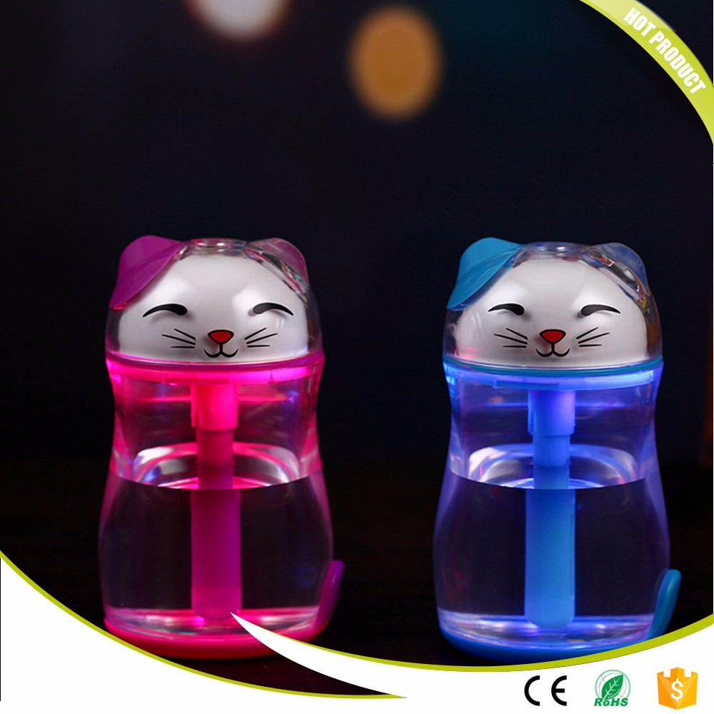 Colorful Lucky Cat Ultrasonic Mist Maker Home Office Mini USB Air Humidifier Night Lights Portable Air Aroma LED Table Lights usb air humidifier whale mini mist maker lovely ultrasonic humidifier suitable for home office humificador usb air humidifier