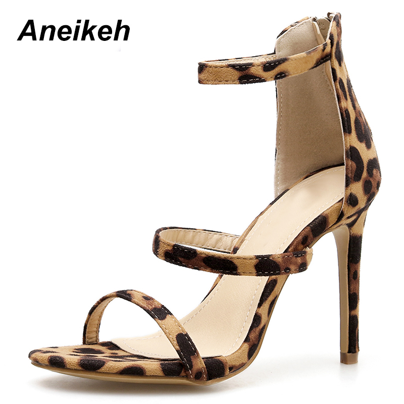 Aneikeh NEW Summer High Heels Leopard Gladiator Sandals Women Shoes Sexy Pumps Ladies Hollow Buckle Zip Peep Toe Sandalias mujerAneikeh NEW Summer High Heels Leopard Gladiator Sandals Women Shoes Sexy Pumps Ladies Hollow Buckle Zip Peep Toe Sandalias mujer