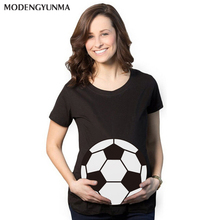 2019 new Pregnant Women T-shirts Maternity clothes Slim Cartoon football Nursing Top Letters O-Neck Pregnancy long Tee shirts