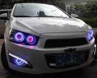 LED DRL daytime running light + COB angel eye, projector lens fog lamp with cover for chevrolet aveo sonic, 2 pcs