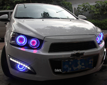 цены LED DRL daytime running light + COB angel eye, projector lens fog lamp with cover for chevrolet aveo sonic, 2 pcs