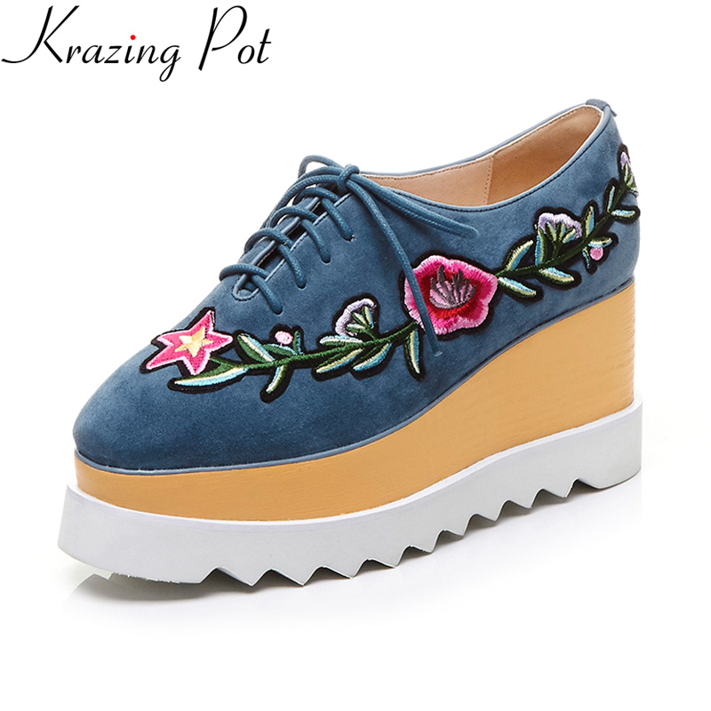 Krazing Pot brand autum shoes runway wedges flower high heel increased square toe lace up platform sweet women casual shoes L58 europe america fashion star cutout lace up high heel shoes for women square toe platform wedges brogue oxford casual shoes us 10