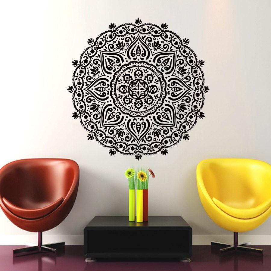 Mandala Menhdi Om Hindistan Hindu Budda Divan Dekoralı Vinil Etiket - Ev dekoru - Fotoqrafiya 3