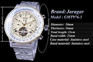 Image 3 - Jaragar Aviator Serie Militär Skala Gelb Elegante Zifferblatt Tourbillon Design Herren Uhren Top marke Luxus Automatische Armbanduhr