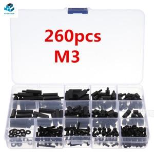 260Pcs M3 Black Nylon Hex Spac