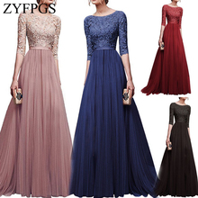 ZYFPGS 2019 Top Ladies Long Dress Flower Pattern Hollow Womans Casual Fashion Slim Five-point Sleeve Classic Sales Z1231